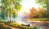 "Картина на холсте ""Летний вечер у реки"""