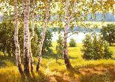 """Картина на холсте """"Утро в летнем лесу"""""""