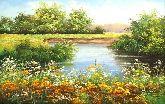 """Картина на холсте """"Летом на реке"""""""
