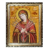 Семистрельная икона Богородицы из янтаря