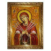 Икона Богородицы Семистрельная из янтаря