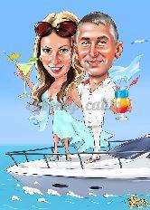 Шарж свадебный на яхте