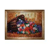 Шикарные цветы на картине из янтаря