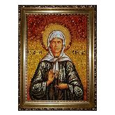 Святая Матрона Московская икона из янтаря