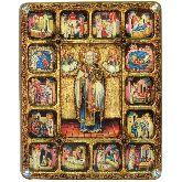Святитель Николай, архиепископ Мир Ликийский (Мирликийский), чудотворец с житийными сценами, Большая икона, 30 Х37