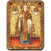 Святитель Николай, архиепископ Мир Ликийский (Мирликийский), чудотворец, Подарочная икона, 15 Х20