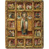 Святитель Николай, архиепископ Мир Ликийский (Мирликийский), чудотворец с житийными сценами, Живописная икона, 44 Х54
