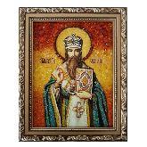 Святитель Василий Великий именная икона из янтаря