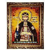 Святой благоверный князь Юрий икона из янтаря