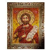 Святой мученик Назарий Римлянин икона из янтаря