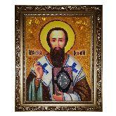 Святой Василий Великий икона из янтаря