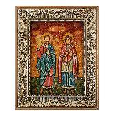 Святые Сергий и Вакх икона из янтаря