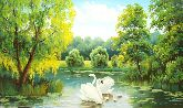 """Картина на холсте """"Лебеди на озере"""""""