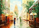 "Картина на холсте ""Старый Арбат под дождем"""