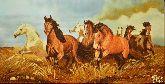 Картина из янтаря Табун лошадей