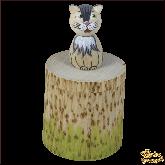 Коробочка из дерева ручной работы Котик.