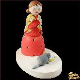 Композиция из дерева ручной работы Хозяйка с кошечкой.