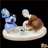 Композиция из дерева ручной работы Зимние забавы (миниатюра).