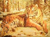 Картина из янтаря Тигр