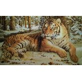 Тигр на снегу из янтаря