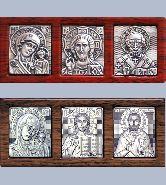 Икона Триптих, рамка пластиковый багет: красный и коричневый, 25х35 (каждый)