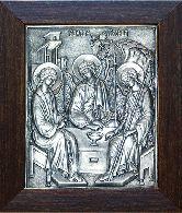 Икона Троица, рамка классическая, 80х105