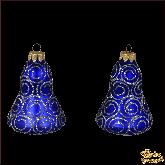 Набор стеклянных ёлочных украшений из 2 колокольчиков Узор.