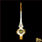 Ёлочное украшение из стекла Верхушка Брошь белая.