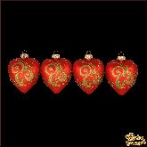 Набор стеклянных ёлочных украшений из 4 сердец Завиток красный.