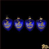 Набор стеклянных ёлочных украшений из 4 сердец  Золотые узоры.
