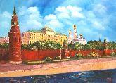 """Картина на холсте """"Московский Кремль в облаках"""""""