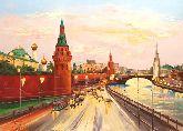 """Картина на холсте """"Москва.Вечерний Кремль"""""""