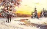 """Картина на холсте """"Зимний вечер у реки"""""""