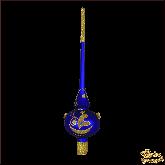 Ёлочное украшение из стекла Верхушка Золотые узоры.
