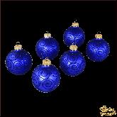 Набор стеклянных ёлочных шаров  Бархат синий.
