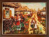Украинское село на картине из янтаря