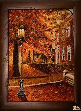 Картина из янтаря Уличный фонарь