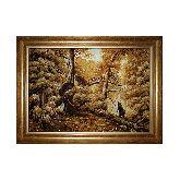 Утро в сосновом лесу янтарная репродукция Шишкин