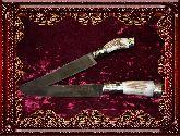 Узбекский нож (Пчак), Косуля большая мельхиор с садафом (клинок с гравировкой)