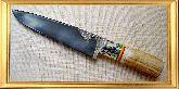 Узбекский нож (Пчак), Косуля большая, заточка вогнутая линза, (гарда узорная мельхиор)