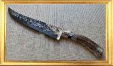 Узбекский нож (Пчак), Косуля средняя с садафом (узорная гарда), заточка вогнутая линза