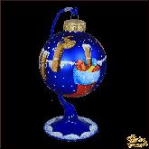 Ёлочный шар ручной работы на подставке Птицы по кругу.