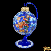 Ёлочный шар ручной работы на подставке Шуты в стиле палех.
