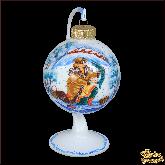 Ёлочный шар ручной работы на подставке По щучьему велению в стиле палех.