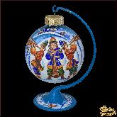Ёлочный шар ручной работы на подставке Три скомороха в стиле палех.