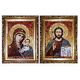 Венчальная икона Иисус и Божья Матерь Казанские из янтаря