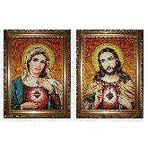 Венчальная икона Непорочное сердце из янтаря