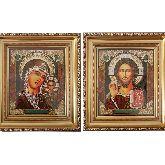 Венчальная пара Казанская. Икона из янтаря