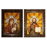 Венчальная пара с янтаря Казанская Божья Матерь и Господь Вседержитель