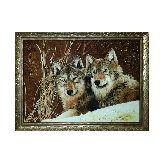 Волки в зимнем лесу из ятнаря